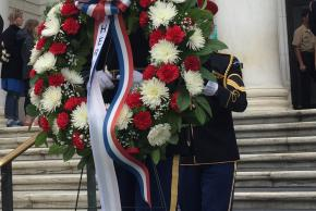 The wreath presented