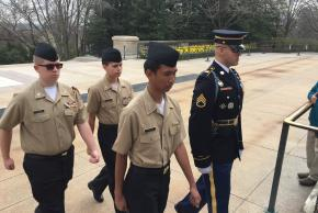 Cadets walking in the cemetery
