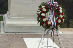 The wreath in front of the memorial
