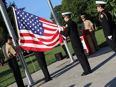 Picture of Cadet Honor Guard prepares to raise the National Ensign