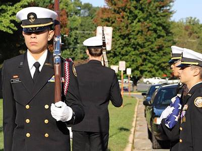 Picture of Honor Guard take position at Flag pole